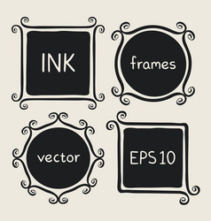 Whimsical frames hand painted with brush vector