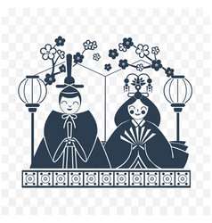 Icon hinamatsuri japan black white vector