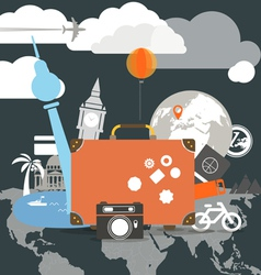 Vacation travelling composition concept vector