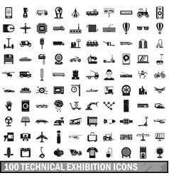100 technical exhibition icons set simple style vector