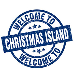 Welcome to christmas island blue stamp vector