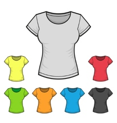 Womens T-shirt Design Template Color Set vector image