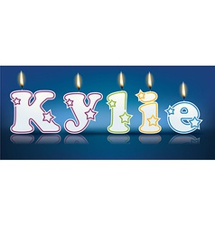 Kylie written with burning candles vector