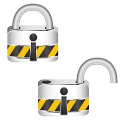 Metal security locked and unlocked vector