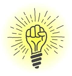 Fresh idea lamp in the shape of a hand vector
