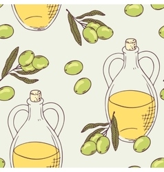 Seamless pattern with hand drawn olive oil vector