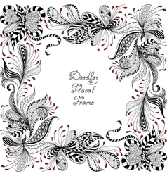 Red black and white floral pattern vector