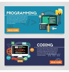Programming and coding concept banners vector