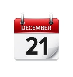 December 21  flat daily calendar icon vector