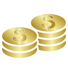 Dollar coins gradient icon vector
