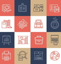 Office life icons on color tiles vector