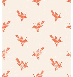 Seamless pattern linocut style with birds vintage vector