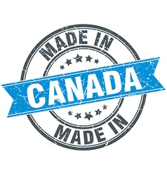 made in Canada blue round vintage stamp vector image