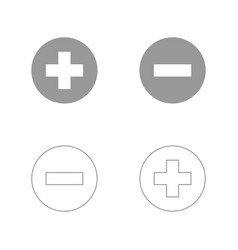 Add sign and delete sign the grey set icon vector