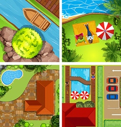 Aerial view of different scenes of parks vector image vector image
