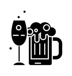 alcoholic drinks icon black vector image