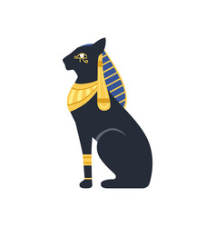 black egyptian cat bastet ancient egypt goddess vector image