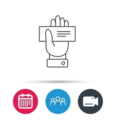 Cheque icon giving hand sign vector
