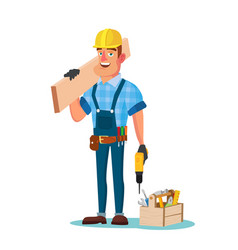 construction worker building timber frame vector image