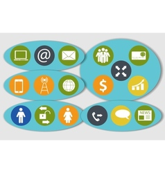 Different business finance and communication icons vector image