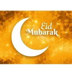 Eid mubarak greeting card crescent moon on vector