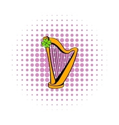 Golden harp and clover icon comics style vector image