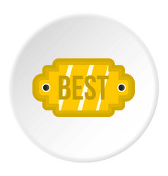 Golden label with the best inscription icon circle vector