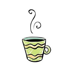 Green cup sketchy design vector