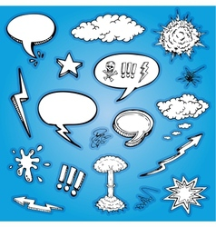 hand drawn cartoon and bubbles collection vector image vector image