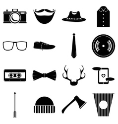 Hipster items icons set simple style vector
