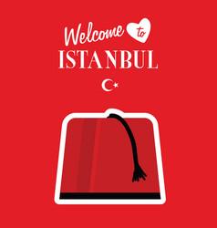 istambul turkey icon design in red color vector image