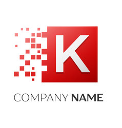Letter k logo symbol in the colorful square with vector
