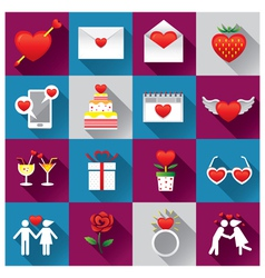 Love objects icons set vector