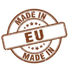 Made in eu brown grunge round stamp vector