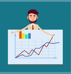 Manager standing behind placard with charts vector