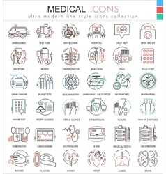 Medical medicine color flat line outline vector image vector image
