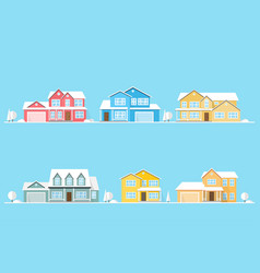 Neighborhood with homes on blue vector