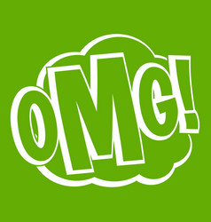 Omg comic text speech bubble icon green vector
