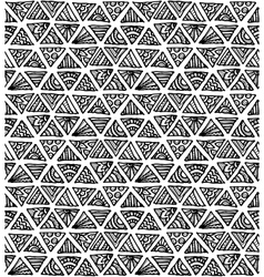 Ornate hand-drawn black and white triangles vector