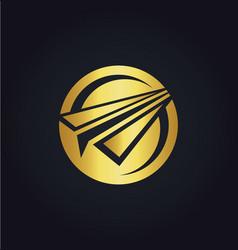 Paper plane round gold logo vector