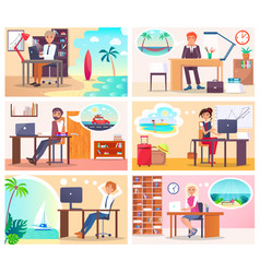People at work dream about vacation at seaside vector