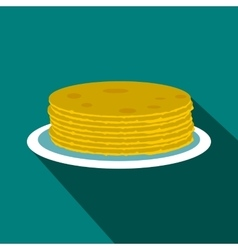 Roasted pancakes icon flat style vector image vector image