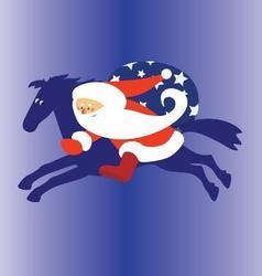 Santa claus riding blue horse vector