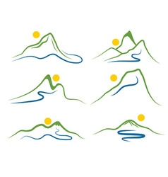 set of mountains and sun vector image