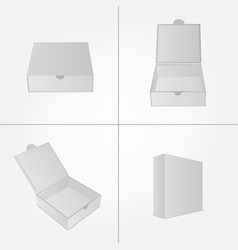 Set of packaging design mockup Gray box in four vector image