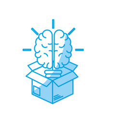 Silhouette box with creative bulb brain inside vector