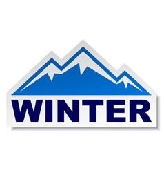 Winter mountain sticker vector
