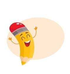 Yellow cartoon pencil celebrating success vector image vector image