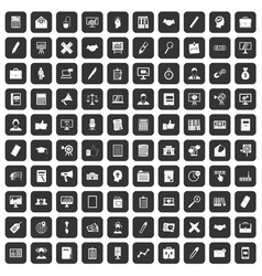 100 finance icons set black vector