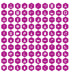 100 water icons hexagon violet vector